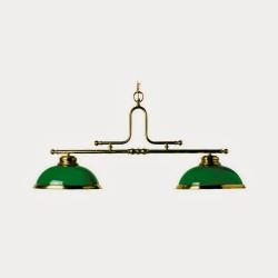 Luminaire laiton - 2 dômes verts
